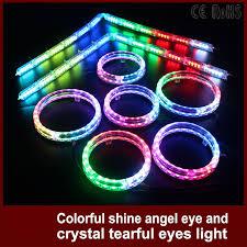 ring light effect app tcart car headlight rgb angel eyes auto app drl halo ring crystal