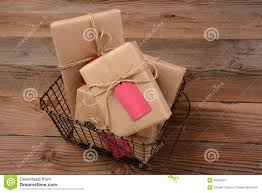 christmas gifts in wire basket royalty free stock photography