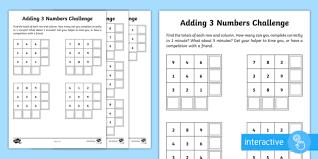 year 2 maths adding 3 numbers homework go respond activity sheet