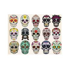 sugar skull canvas wall art human skull with flowers over colorful