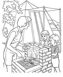 helping mother cooking camping coloring jpg 600 734