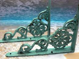 Home Improvement Cast by Shelf Bracket Cast Iron Floral Brace Shabby Chic Beach Blue Pair