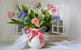 flower tulips bow pink life still flowers ribbon tulip window tulips nature ribbon pink window spring tulip still life bow flowers flower trees wallpapers