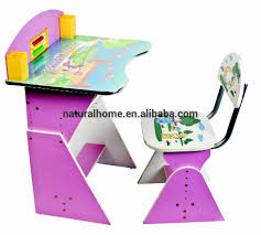 study table and chair kids furniture solid wood cartoon study table and chair set wooden