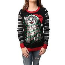 ugly christmas sweater women u0027s tangled kitten in lights led light