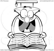 cartoon of a black and white excited professor owl reading a book