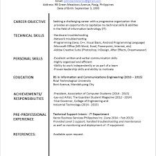 personal resume format fred resumes