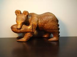 hand carved wooden bear with fish wooden animal statue alaska