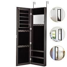 wall mounted jewelry cabinet amazon com jewelry armoire with mirror door or wall mounted jewelry