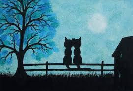 cats and moon cats two cats with tree and moon