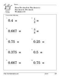 convert fractions and decimals 6 4th 6th grade worksheet