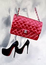 art print of chanel red designer bag christian louboutin