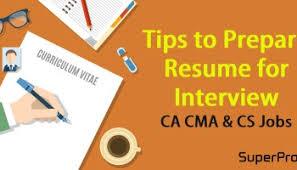 Cs Resume Download 50 Sample Resumes For Ca Cwa Cs Degree Students Superprofs