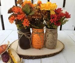 Flower Vase Decoration Home Pint Mason Jars Fall Decor Thanksgiving Painted Mason Jars Rustic