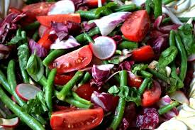 green bean salad with mustard and garlic dressing inside the