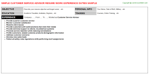 Service Advisor Resume Sample by Customer Service Advisor Job Title Docs