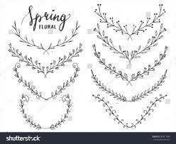 vector floral borders on chalkboard sketch stock vector 381617899