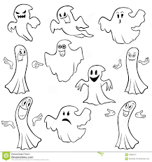 halloween background outlines set of ten ghost outline stock vector image 59896670