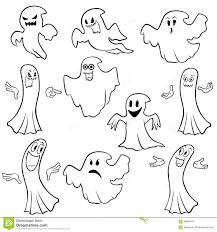 halloween background outlines set of ten ghost outline stock vector image 59896670