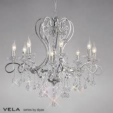 Asfour Crystal Chandelier Diyas Vela Large 8 Light Chandelier In Polished Chrome With Asfour