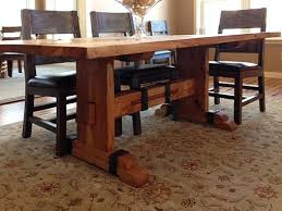 White Oak Dining Room Set - handmade solid reclaimed white oak dining table with iron accents