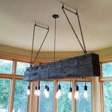 Wood Beam Light Fixture Buy A Custom Made Reclaimed Wood Beam Chandelier Made To Order