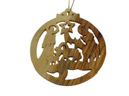 olive wood nativity manger christmas ornament christmas house