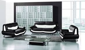 Livingroom Set Extraordinary Black White Leather 3pc Modern Artistic Living Room