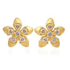 gold ear ring image kids collection 5 petals flower gold earring grt jewellers