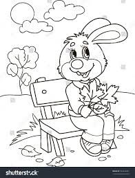 coloring page outline cartoon rabbit on stock vector 593563457