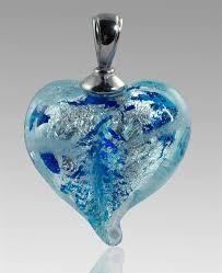 cremation pendants silver heart glass cremation pendant