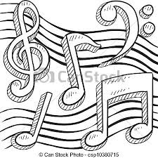 vector clip art of musical notation sketch doodle style musical