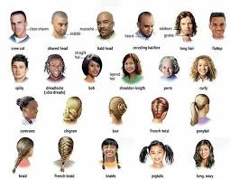 names of different haircuts hair and the different types learning english