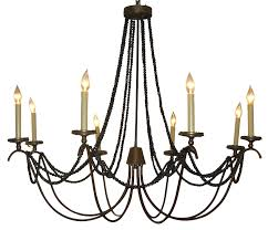 Country French Chandelier by Vertical Pendant Light With Inner Glass Cylinder Shade And Four