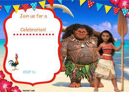 Design For Birthday Invitation Card Free Moana Birthday Invitation Template Drevio Invitations