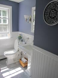 creative bathroom for guest with soft blue painted wall feat white