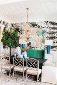 eclectic dining room with black and white wallpaper kendall
