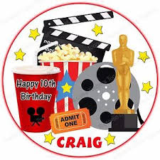 personalised cinema film movie hollywood edible icing birthday