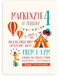 circus kids birthday party invitations minted