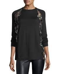 redvalentino wool sweater w floral print ruffle