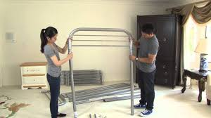 Metal Bunk Bed With Futon Assembly Video Metal Bunkbed Twin Twin And Twin Futon Youtube