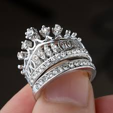 circle wedding rings 1set fashion rhinestone imperial crown circle wedding