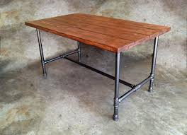 wood and pipe table design with brown wooden top table with black metal galvanized pipe