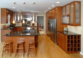 kitchen affordable with natural teak finished and cool chrome