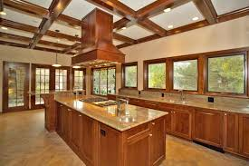 kitchen coffered ceilings and kitchen hood with kitchen cabinets