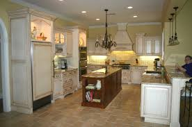 traditional white kitchen design ideas with wooden island granite