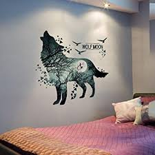Wall Stickers For Kitchen by Amazon Com Home Decoration Wolf Moon Wall Stickers Pvc Material