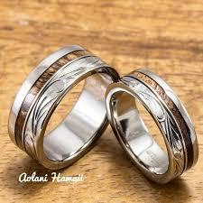 wooden wedding ring sets tungsten koa wood wedding rings aolani hawaii