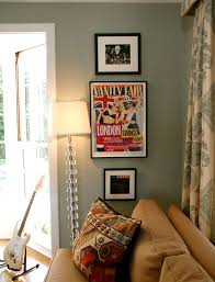 silver sage paint for a eclectic living room with a wood flooring