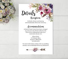 Wedding Invitation Insert Cards Printable Boho Wedding Details Card Printable Wedding Detail